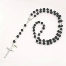 Wired Personalised Rosary, Black Pearls, Any Engraving